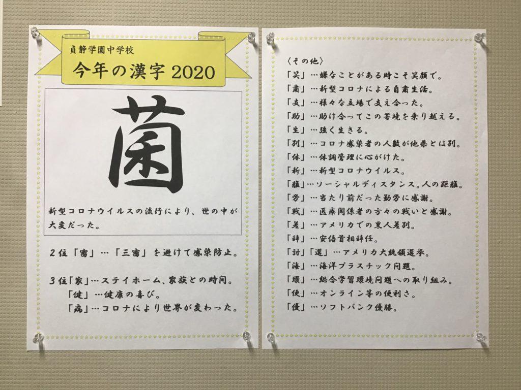 【中学校ブログ】 「今年の漢字」「おすすめの一冊」